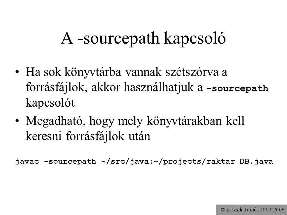 A -sourcepath kapcsoló