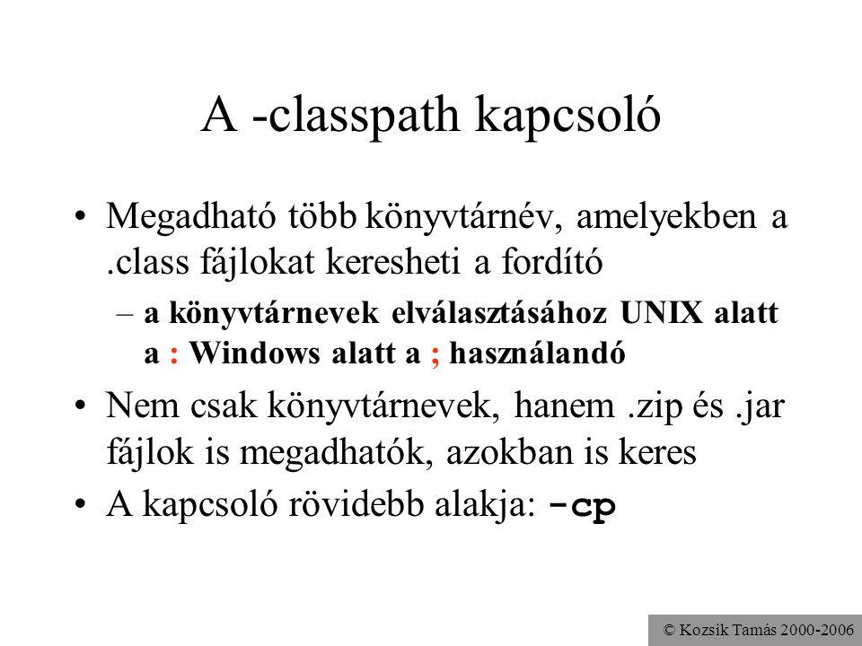 A -classpath kapcsoló Megadható több könyvtárnév, amelyekben a .class fájlokat keresheti a fordító.