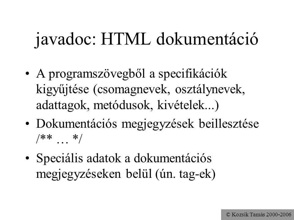javadoc: HTML dokumentáció