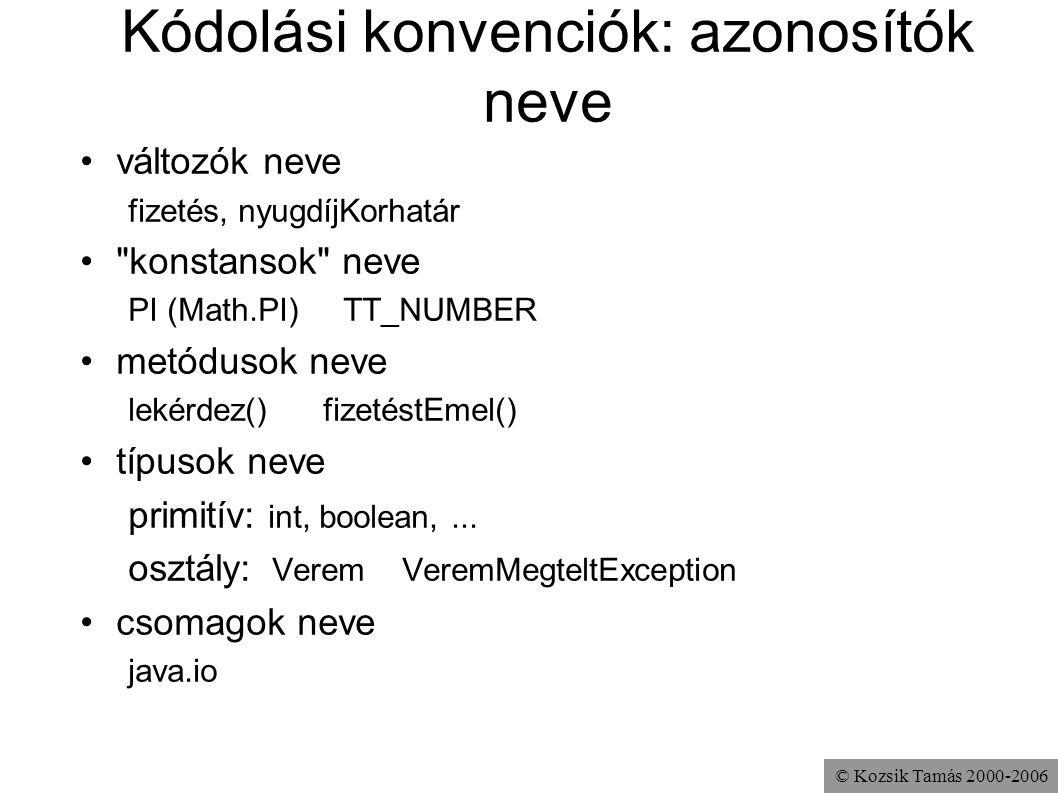 Kódolási konvenciók: azonosítók neve