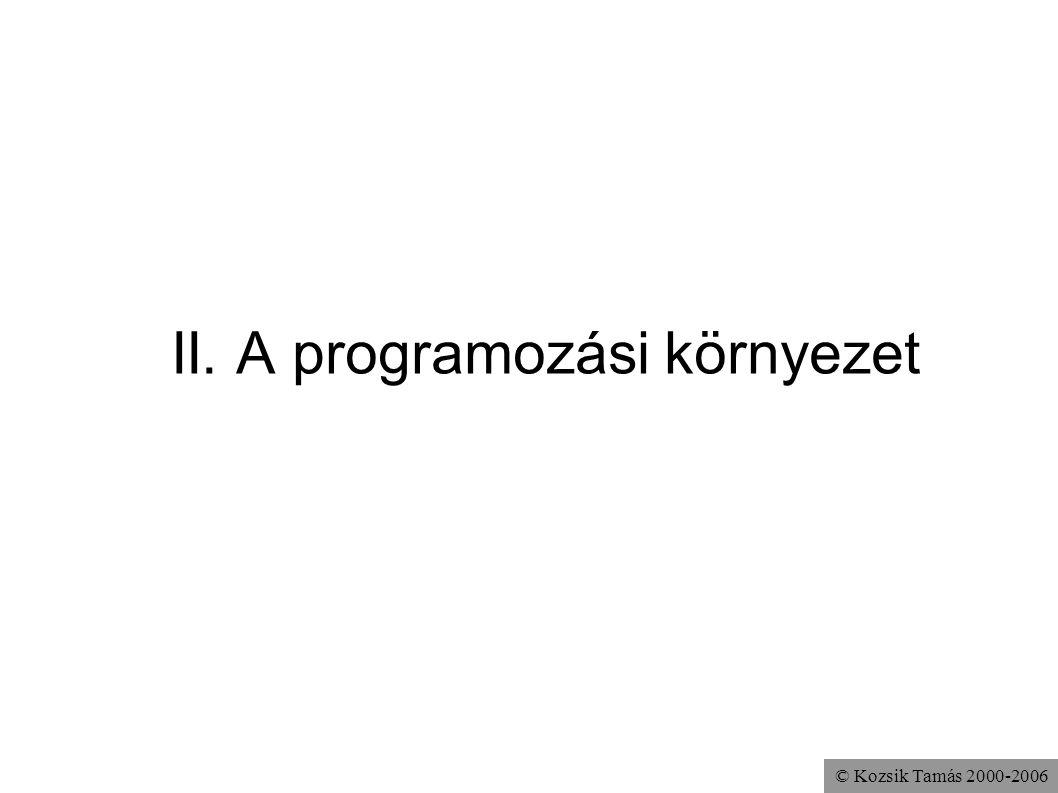 II. A programozási környezet