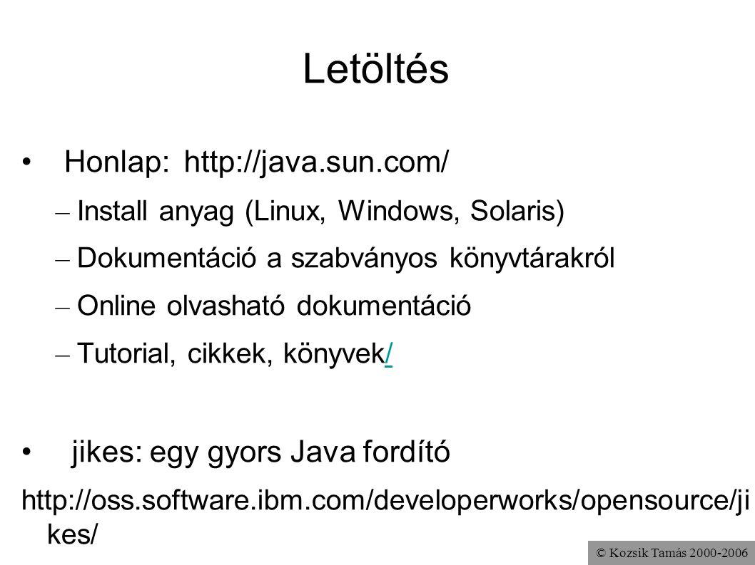 Letöltés Honlap: http://java.sun.com/ jikes: egy gyors Java fordító