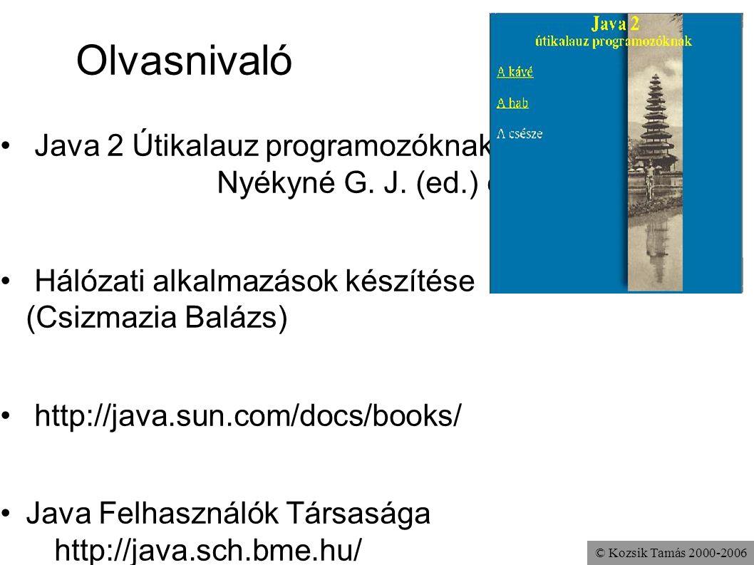 Olvasnivaló Java 2 Útikalauz programozóknak Nyékyné G. J. (ed.) et al.