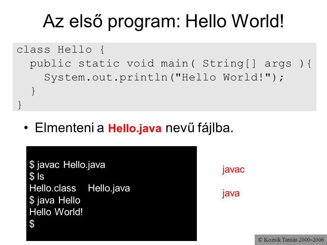 Az első program: Hello World!