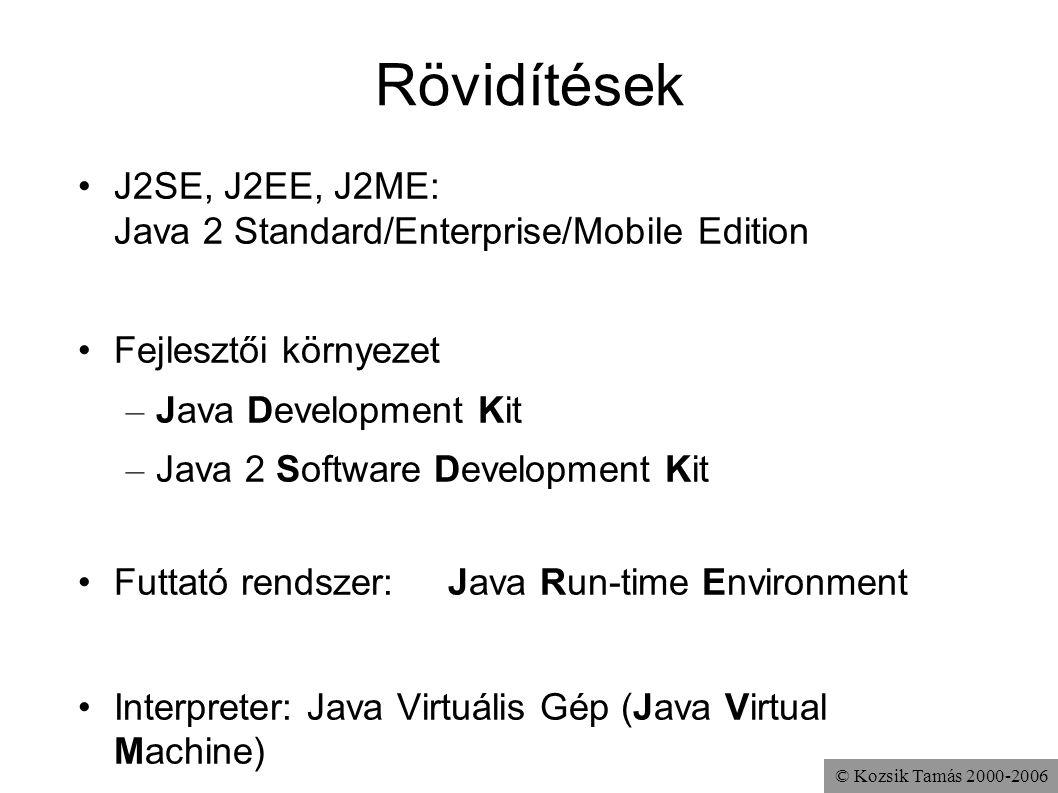 Rövidítések J2SE, J2EE, J2ME: Java 2 Standard/Enterprise/Mobile Edition. Fejlesztői környezet. Java Development Kit.
