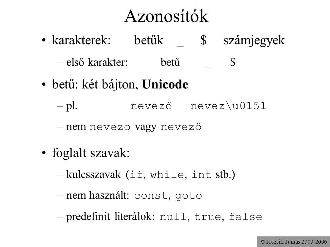 Azonosítók karakterek: betűk _ $ számjegyek betű: két bájton, Unicode