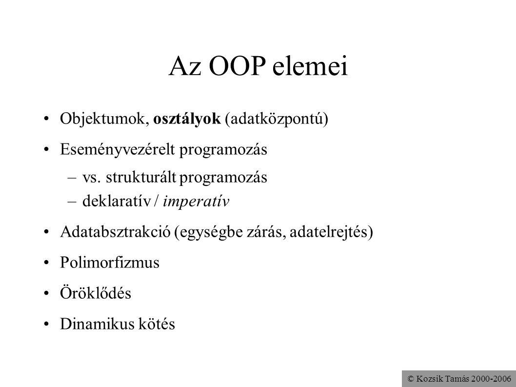 Az OOP elemei Objektumok, osztályok (adatközpontú)