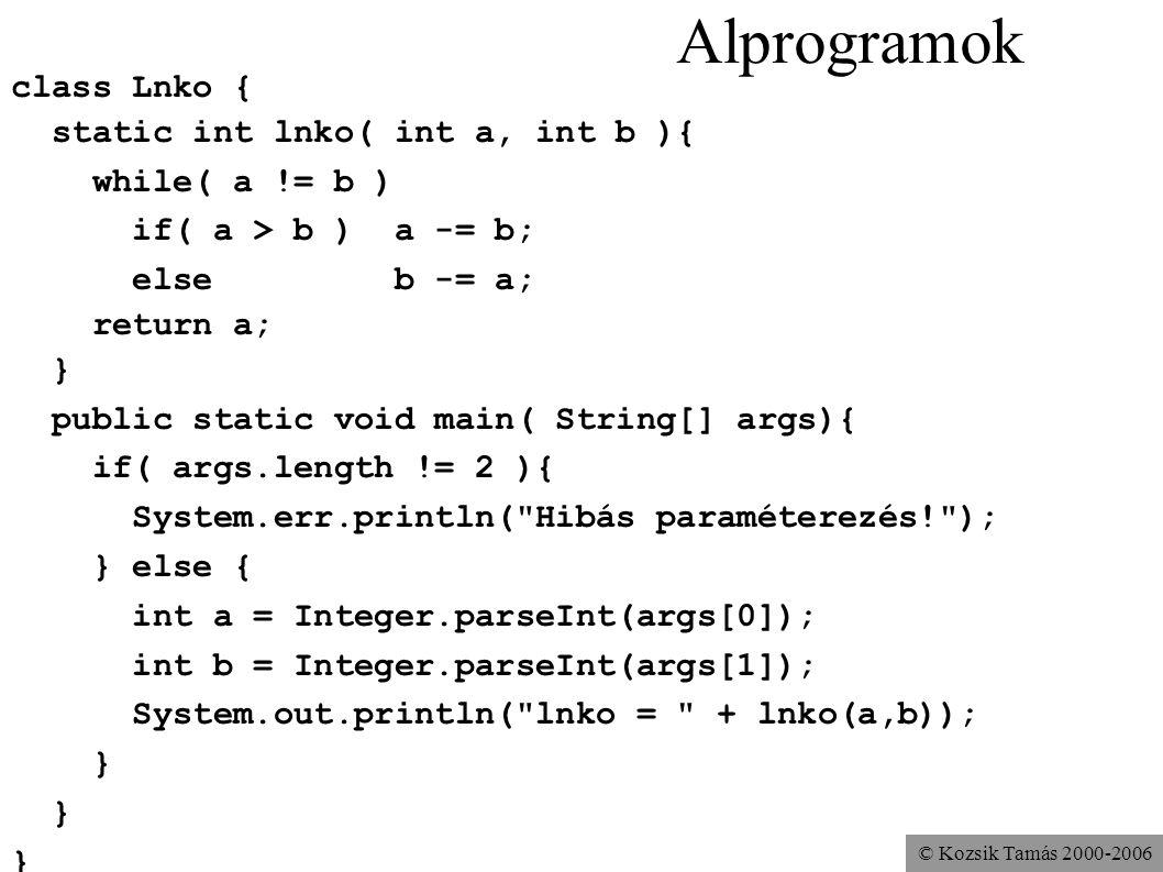 Alprogramok class Lnko { static int lnko( int a, int b ){