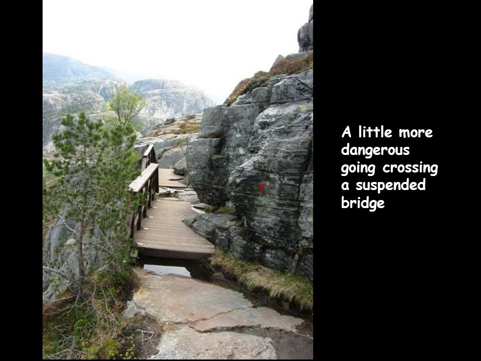 A little more dangerous going crossing a suspended bridge