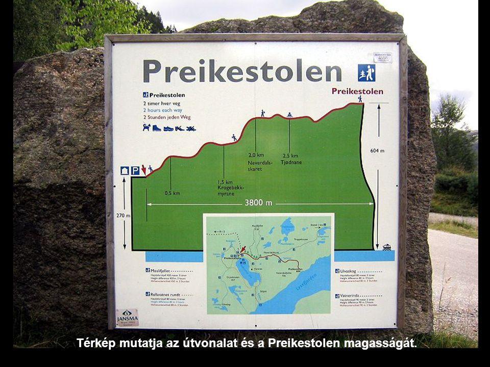 Térkép mutatja az útvonalat és a Preikestolen magasságát.