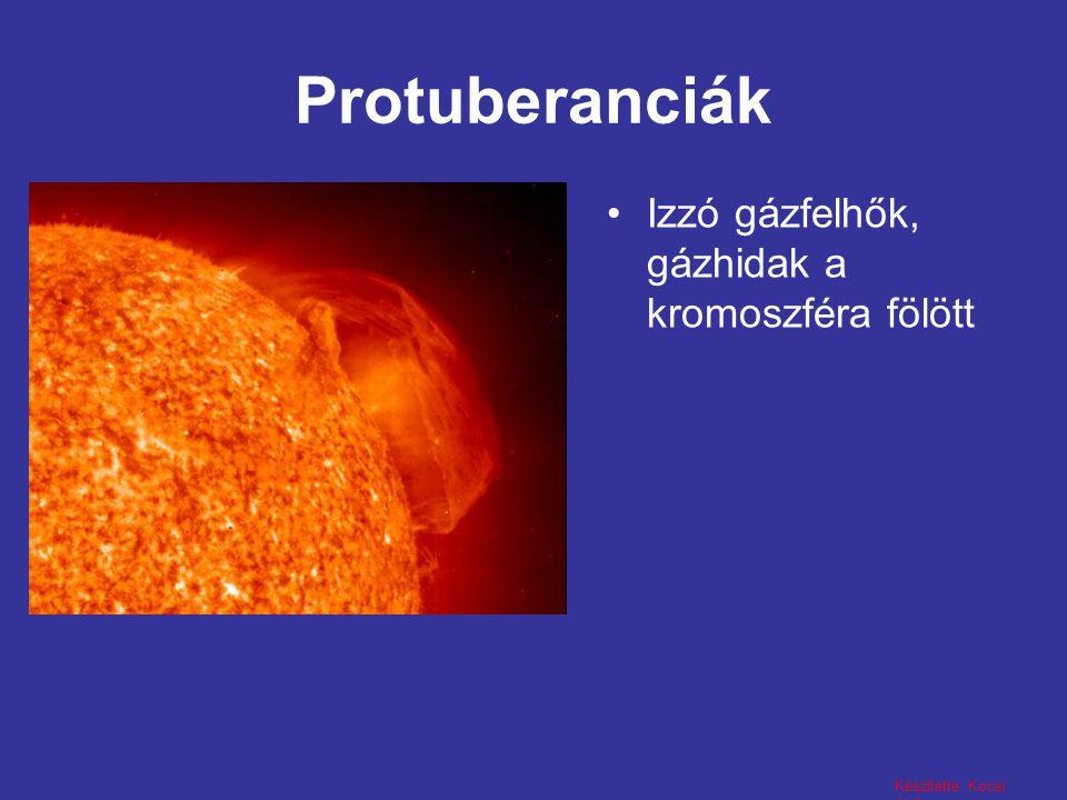 Protuberanciák Izzó gázfelhők, gázhidak a kromoszféra fölött