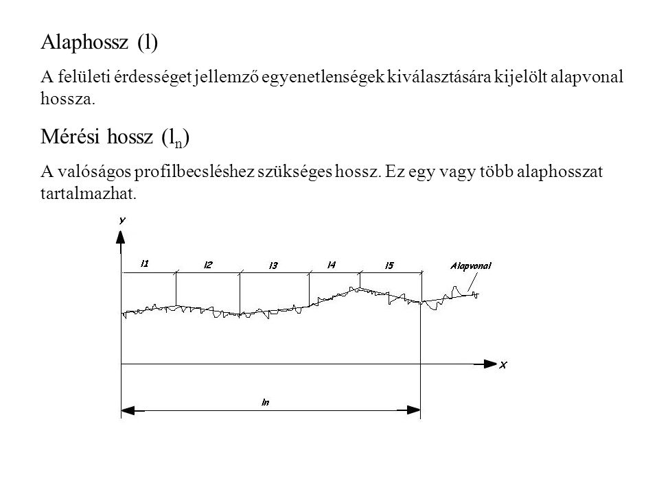 Alaphossz (l) Mérési hossz (ln)