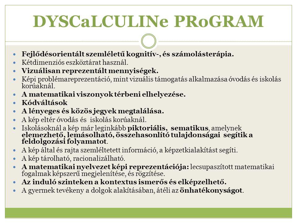 DYSCaLCULINe PRoGRAM Fejlődésorientált szemléletű kognitív-, és számolásterápia. Kétdimenziós eszköztárat használ.