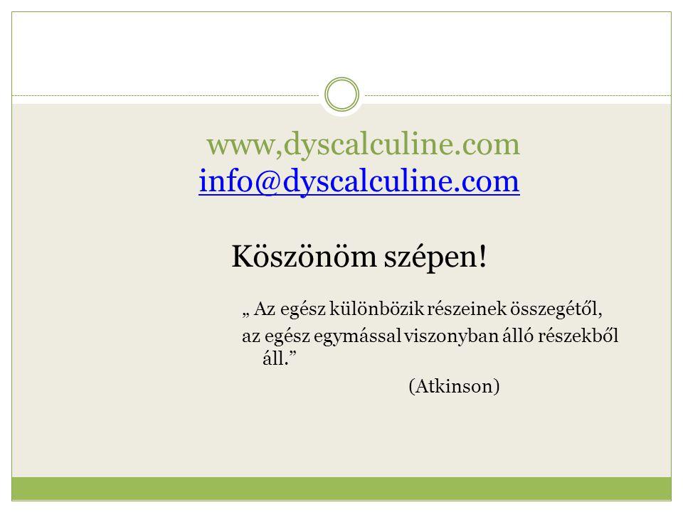www,dyscalculine.com info@dyscalculine.com Köszönöm szépen!