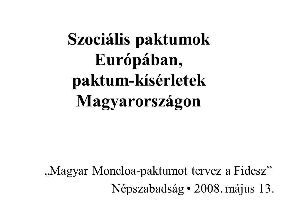 Szociális paktumok Európában, paktum-kísérletek Magyarországon