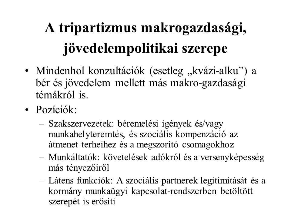 A tripartizmus makrogazdasági, jövedelempolitikai szerepe