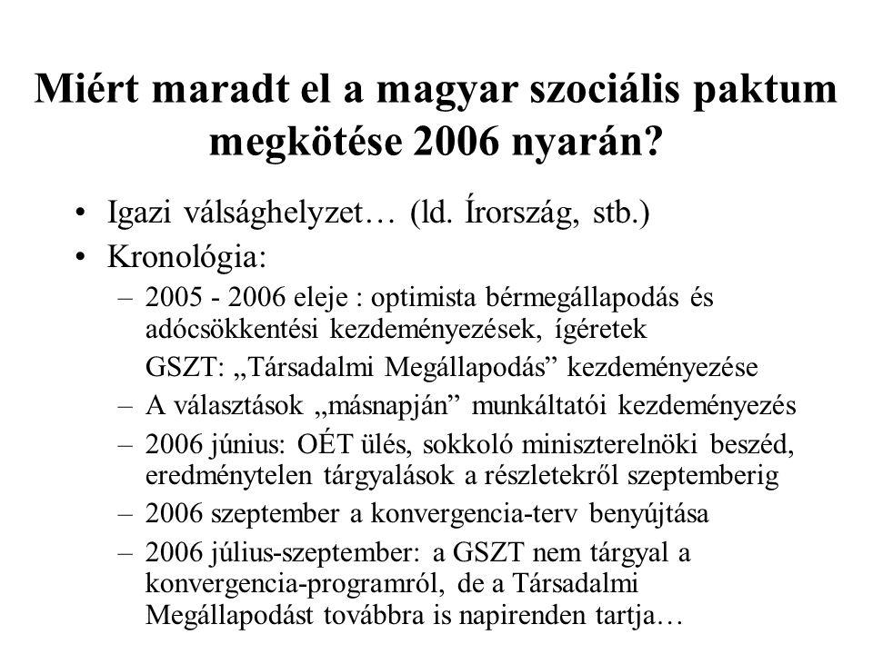 Miért maradt el a magyar szociális paktum megkötése 2006 nyarán