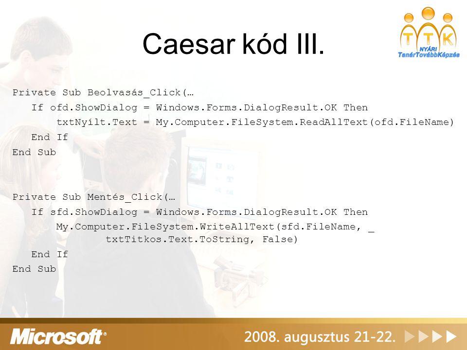 Caesar kód III.