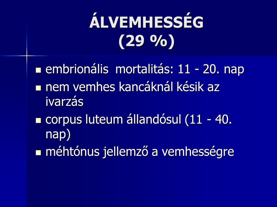 ÁLVEMHESSÉG (29 %) embrionális mortalitás: 11 - 20. nap