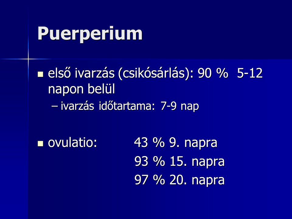 Puerperium első ivarzás (csikósárlás): 90 % 5-12 napon belül