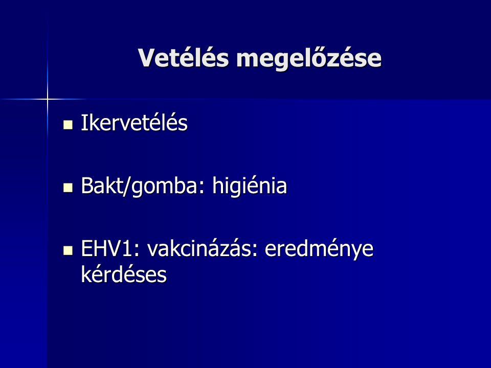 Vetélés megelőzése Ikervetélés Bakt/gomba: higiénia