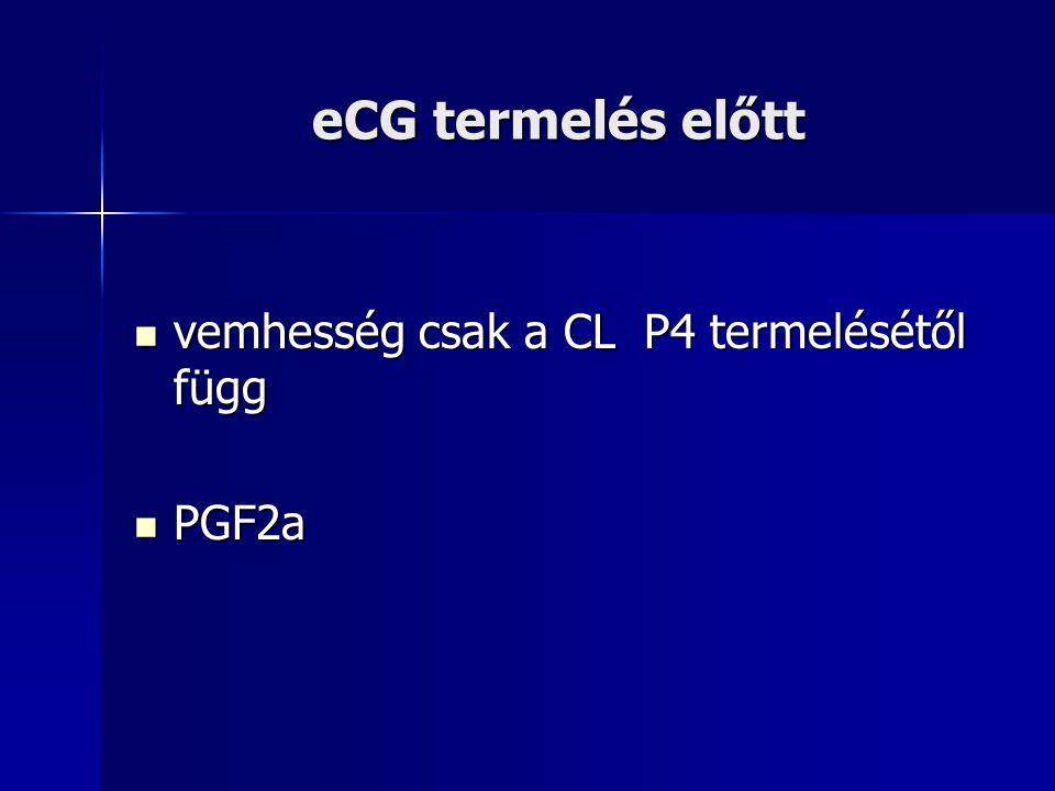 eCG termelés előtt vemhesség csak a CL P4 termelésétől függ PGF2a