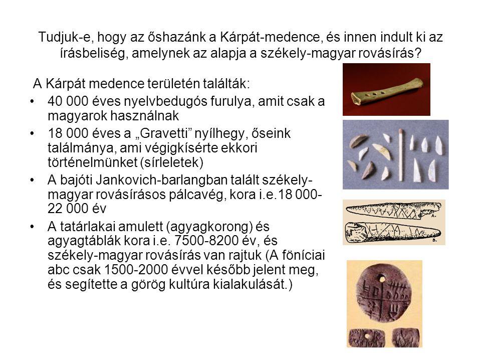 Tudjuk-e, hogy az őshazánk a Kárpát-medence, és innen indult ki az írásbeliség, amelynek az alapja a székely-magyar rovásírás
