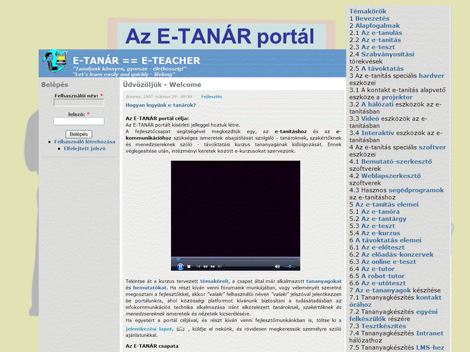 Az E-TANÁR portál