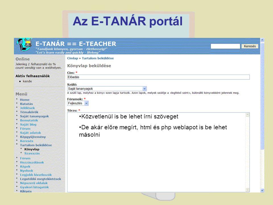 Az E-TANÁR portál Közvetlenül is be lehet írni szöveget
