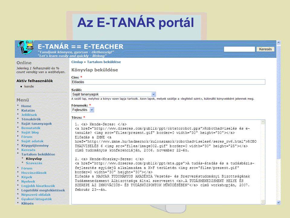 Az E-TANÁR portál 1. <a> Kende-Seres: </a>