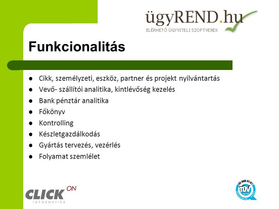 Funkcionalitás Cikk, személyzeti, eszköz, partner és projekt nyilvántartás. Vevő- szállítói analitika, kintlévőség kezelés.