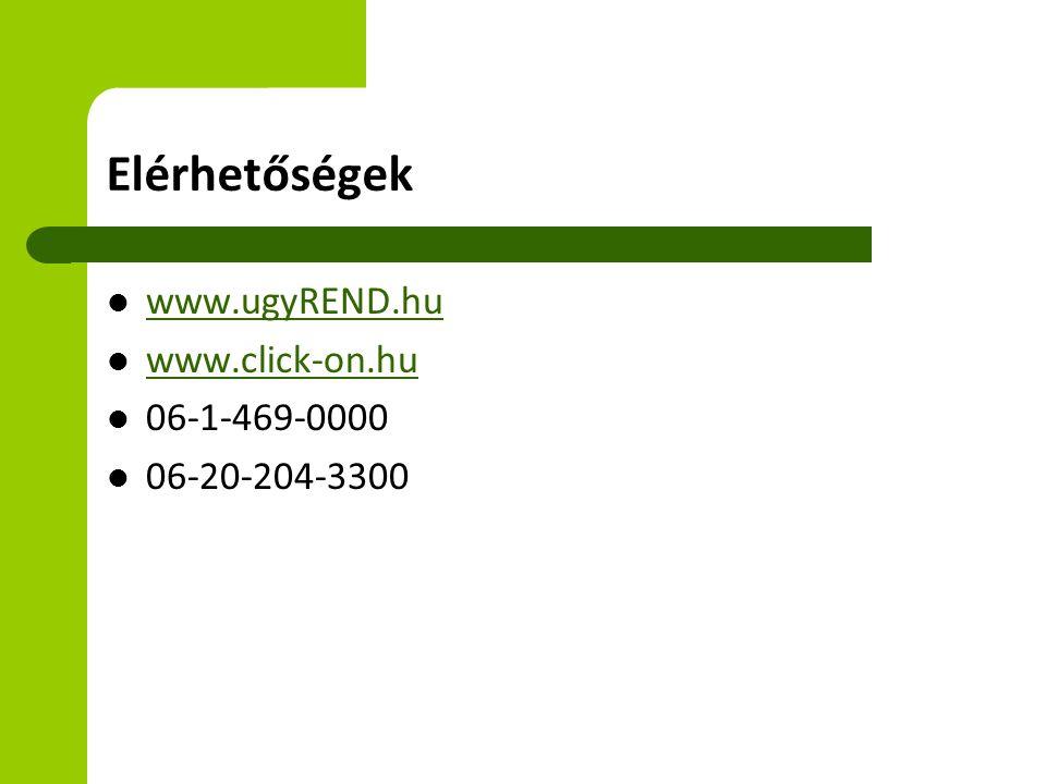 Elérhetőségek www.ugyREND.hu www.click-on.hu 06-1-469-0000