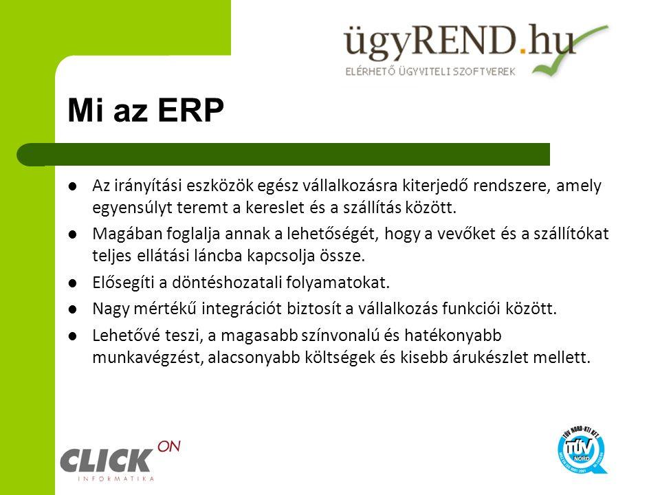 Mi az ERP Az irányítási eszközök egész vállalkozásra kiterjedő rendszere, amely egyensúlyt teremt a kereslet és a szállítás között.