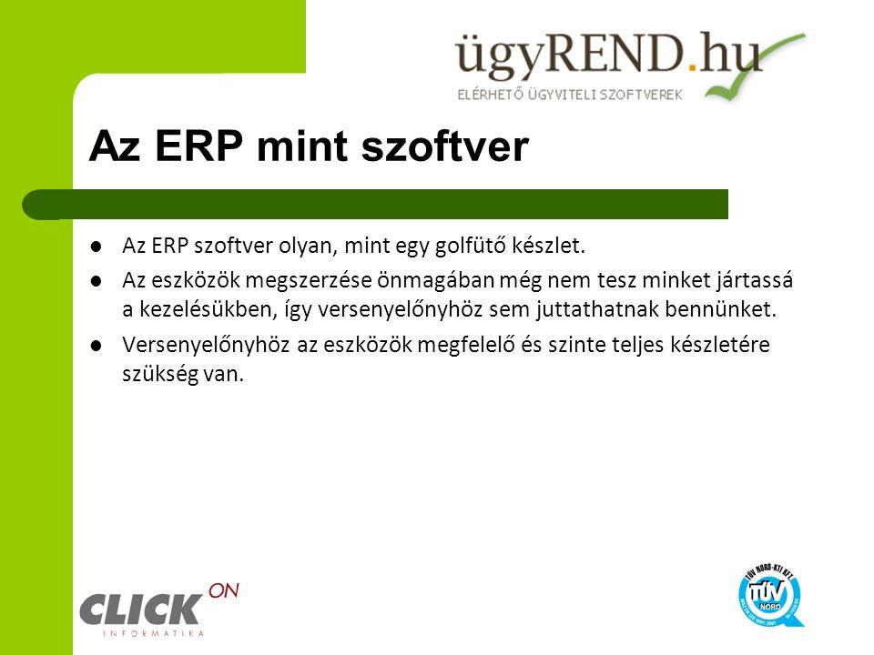 Az ERP mint szoftver Az ERP szoftver olyan, mint egy golfütő készlet.
