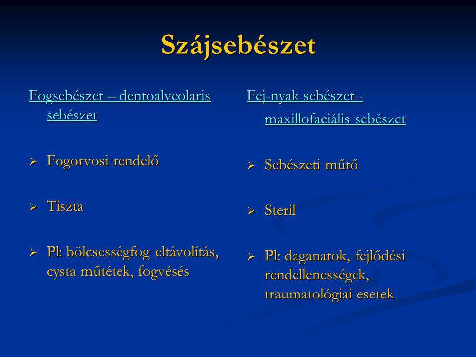 Szájsebészet Fogsebészet – dentoalveolaris sebészet Fogorvosi rendelő