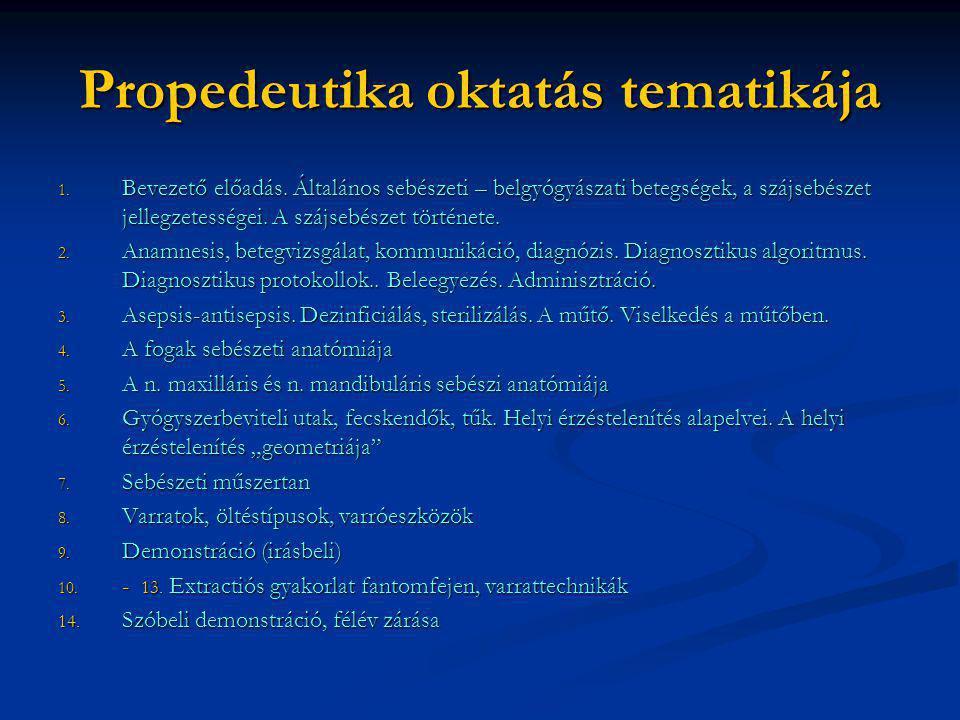 Propedeutika oktatás tematikája