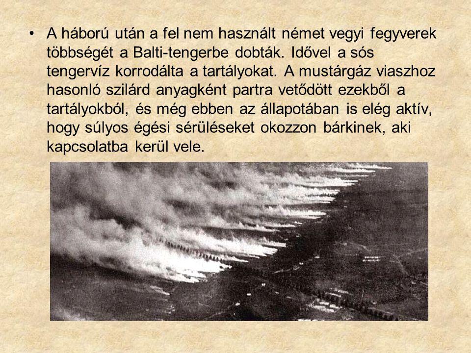 A háború után a fel nem használt német vegyi fegyverek többségét a Balti-tengerbe dobták.