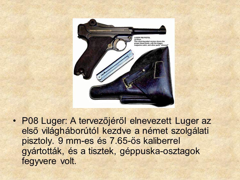 P08 Luger: A tervezőjéről elnevezett Luger az első világháborútól kezdve a német szolgálati pisztoly.
