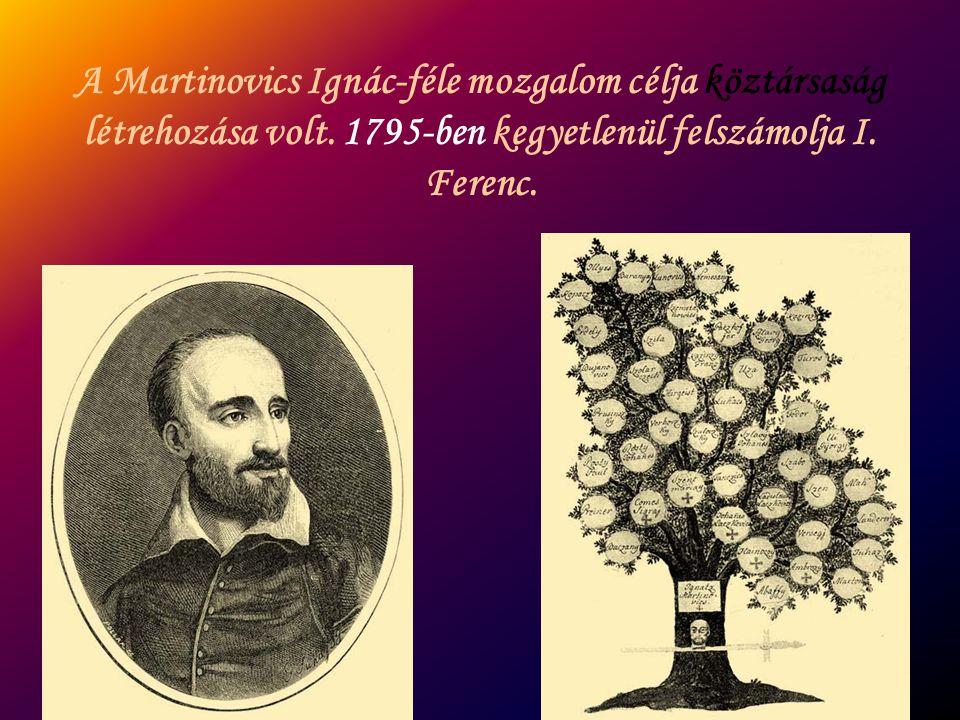 A Martinovics Ignác-féle mozgalom célja köztársaság létrehozása volt