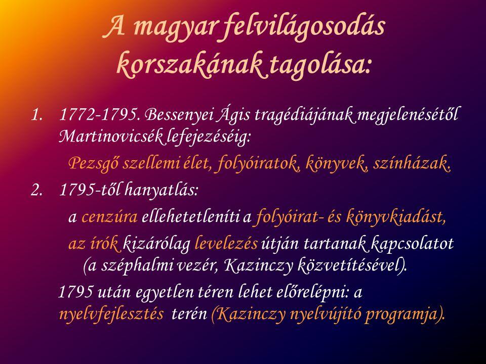 A magyar felvilágosodás korszakának tagolása: