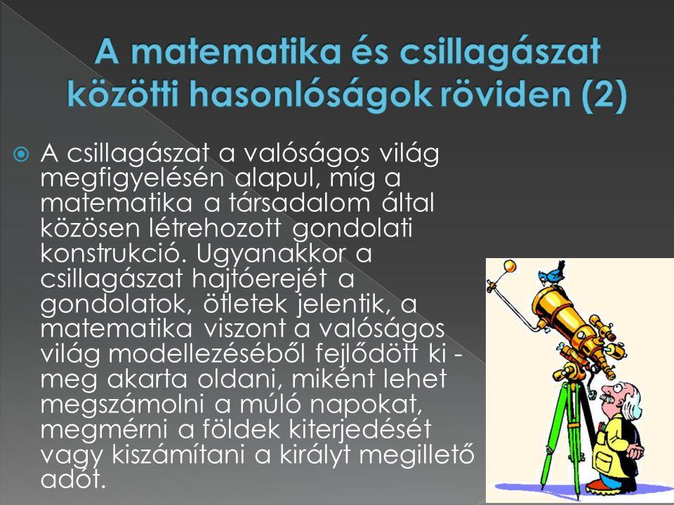 A matematika és csillagászat közötti hasonlóságok röviden (2)