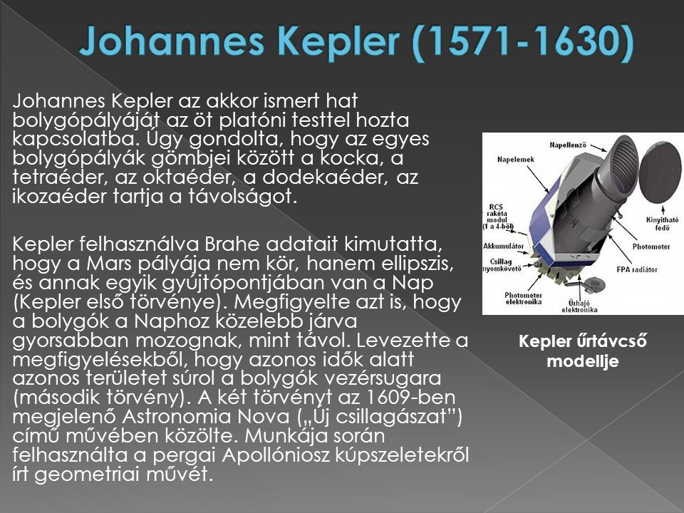Kepler űrtávcső modellje