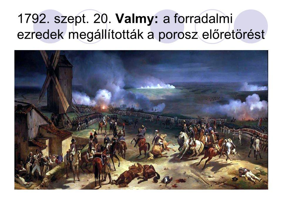 1792. szept. 20. Valmy: a forradalmi ezredek megállították a porosz előretörést