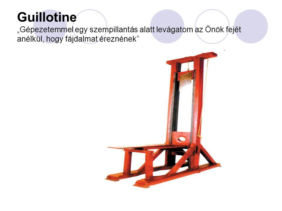 """Guillotine """"Gépezetemmel egy szempillantás alatt levágatom az Önök fejét anélkül, hogy fájdalmat éreznének"""