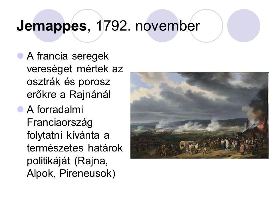 Jemappes, 1792. november A francia seregek vereséget mértek az osztrák és porosz erőkre a Rajnánál.