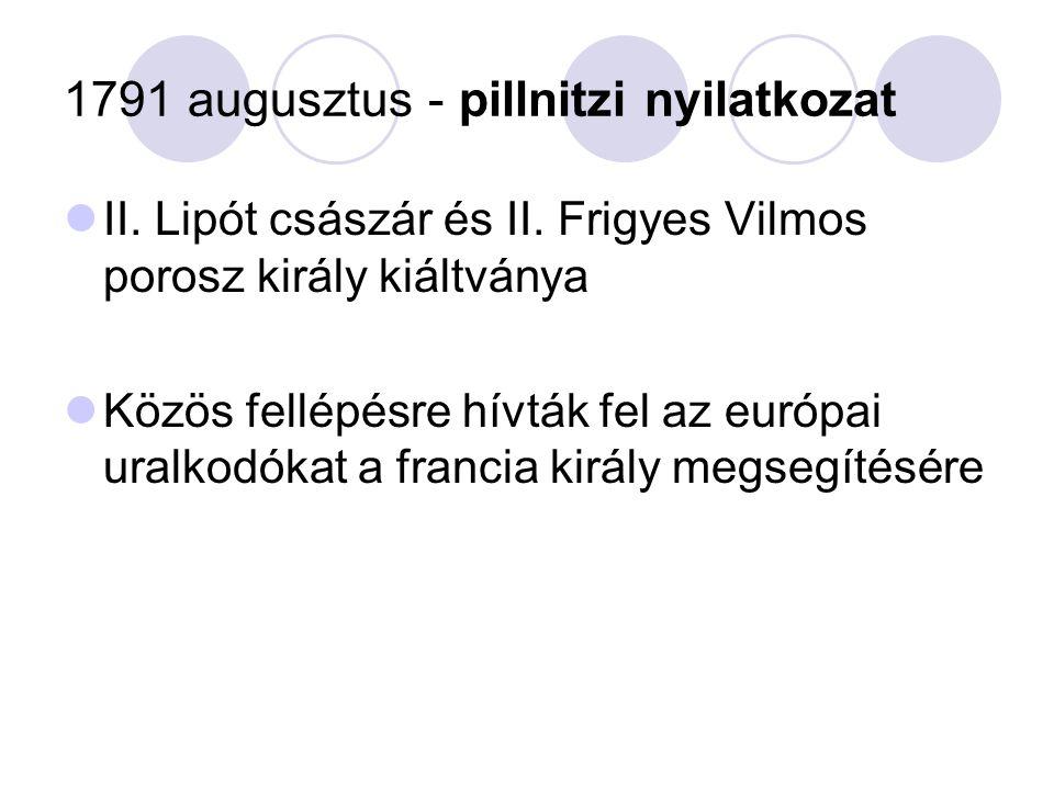 1791 augusztus - pillnitzi nyilatkozat
