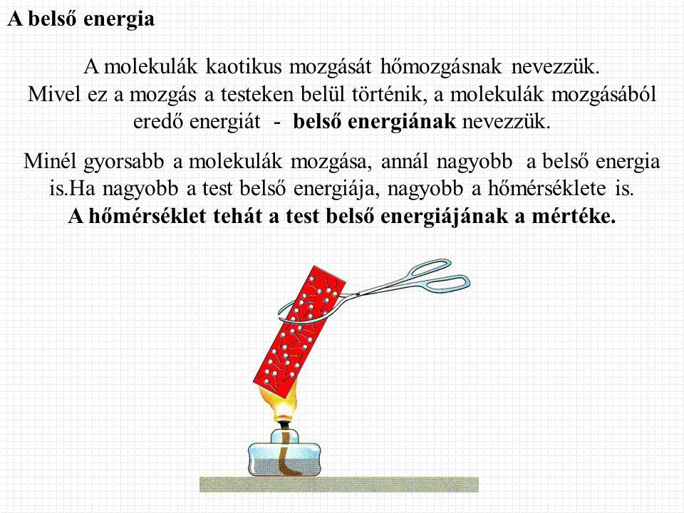 A hőmérséklet tehát a test belső energiájának a mértéke.