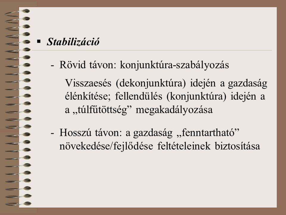 Stabilizáció Rövid távon: konjunktúra-szabályozás. Visszaesés (dekonjunktúra) idején a gazdaság. élénkítése; fellendülés (konjunktúra) idején a.