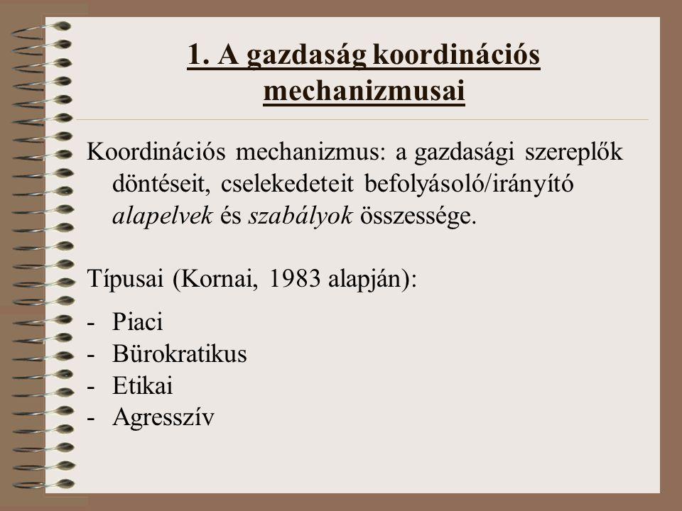 1. A gazdaság koordinációs mechanizmusai