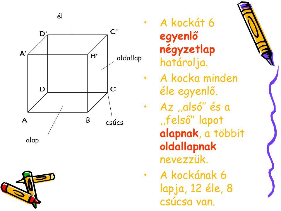 A kockát 6 egyenlő négyzetlap határolja.
